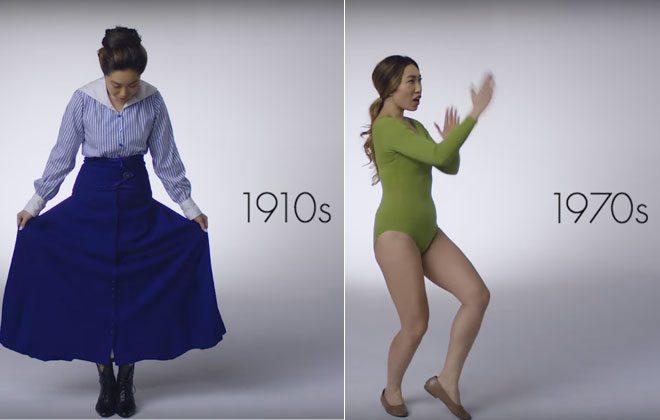 Mulher vestindo roupas fitness de épocas diferentes