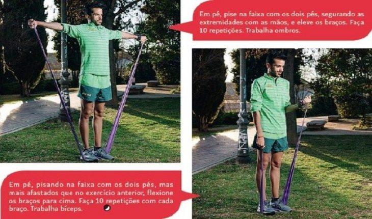 homem realizando exercícios com faixa exercícios com faixa