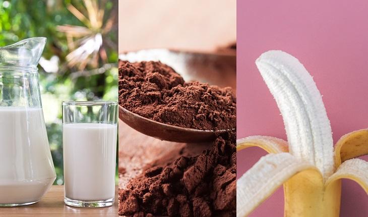 Ingestão de proteínas: na foto, leite, achocolatado e banana, sugestões de lanches pós-treino