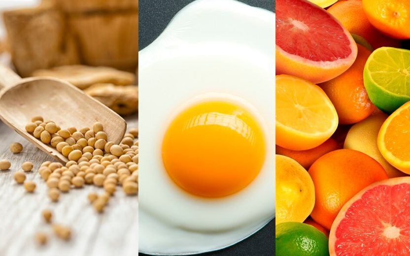 Alimentos para acelerar a recuperação muscular: soja, ovo e frutas cítricas