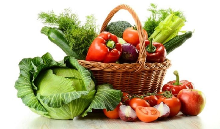vegetais em uma cesta alimentação