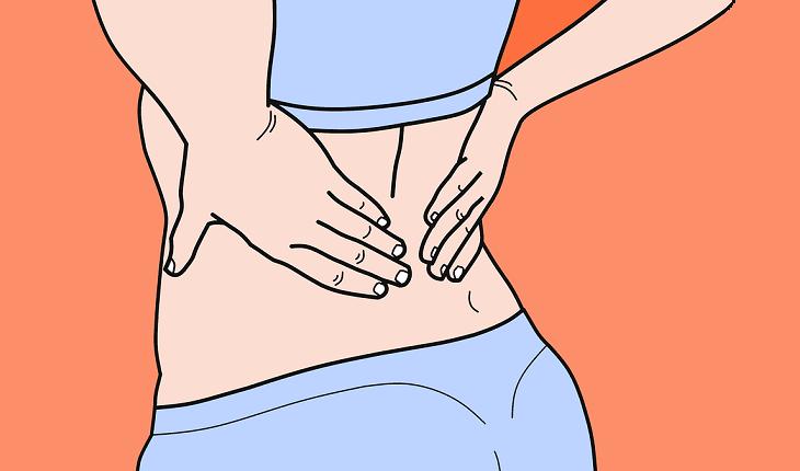 Na foto, uma ilustração de uma pessoa de costas com as mãos na coluna, indicando dor. Saúde da coluna