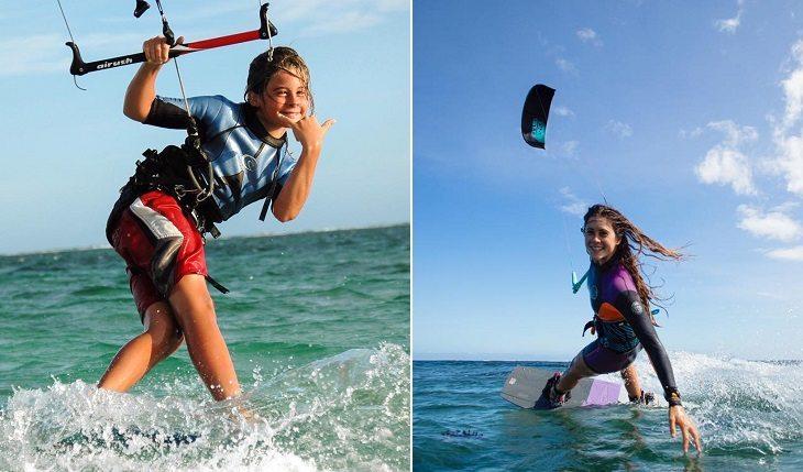 Gisela Pulido, a mais jovem campeã mundial de kitesurf, criança e nos dias de hoje