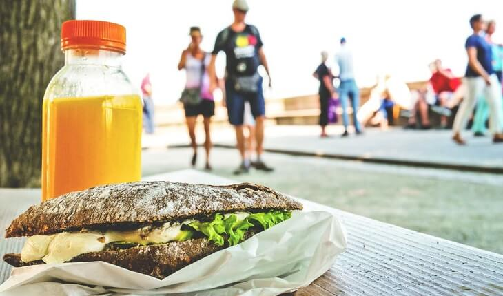 sanduíche suco nutrição esportiva