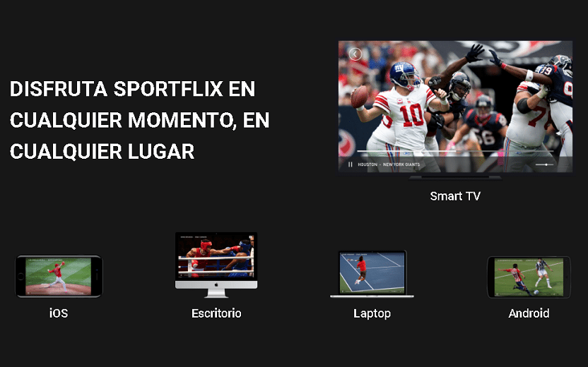 Na foto, está uma tela da páginas do Sportflix mostrando os dispositivos em que poderá ser consumido. São eles: Smart TV, computador, notebook e smartphones
