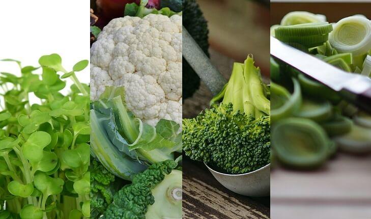 Agrião, couve-flor, brócolis e alho poró. Frutas, legumes e verduras da época.