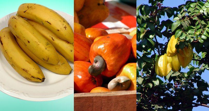Frutas, legumes e verduras da época. Banana nanica, caju e carambola