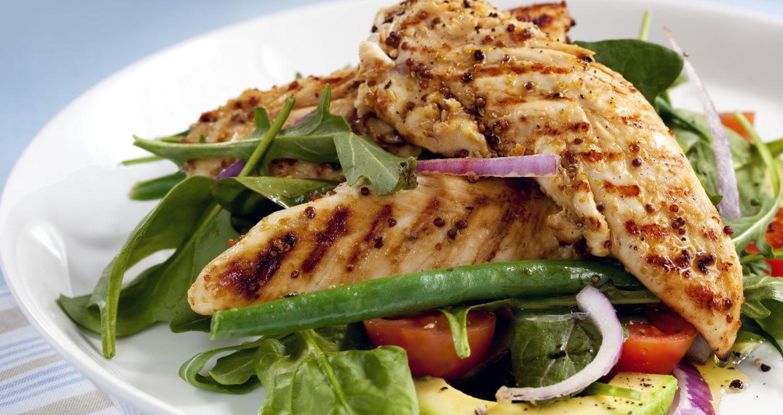 seca barriga - frango e salada