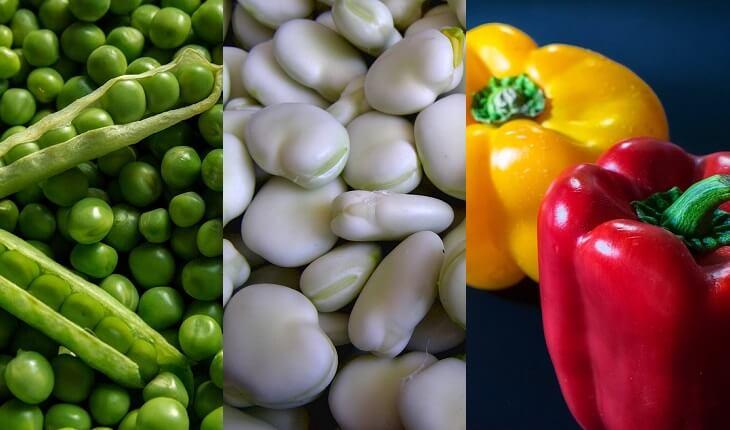 Frutas, legumes e verduras da época. Ervilha, fava e pimentão