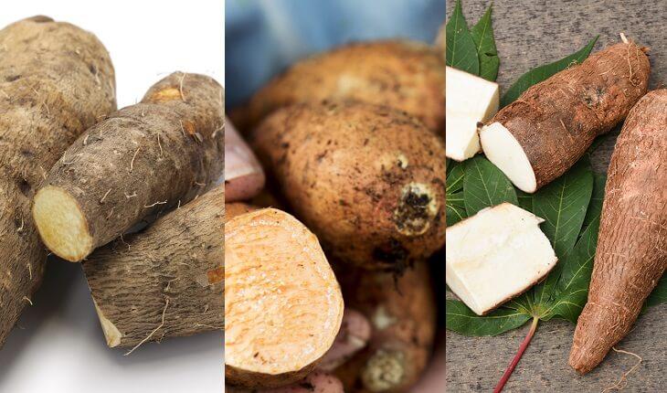 Frutas, legumes e verduras da época. Inhame, mandioquinha e mandioca
