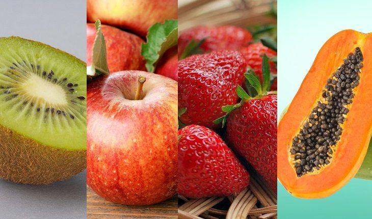 Kiwi, maçã, morando e mamão. Frutas, legumes e verduras da época.