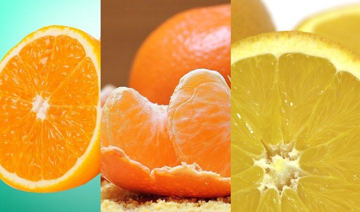 Frutas, legumes e verduras da época. Laranja-pera, tangerina e laranja lima