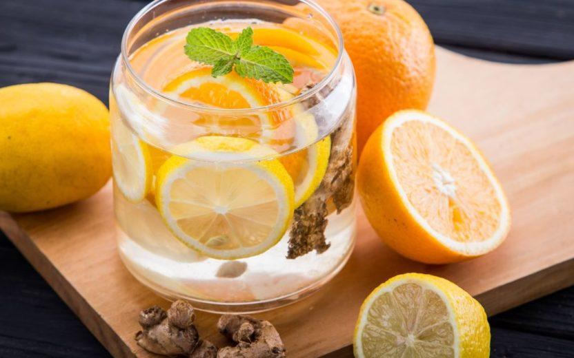 agua aromatizada laranja com canela