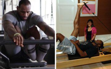 Fotos de LeBron James e Kobe Bryant fazendo pilates