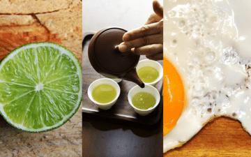 Alimentos que ajudam a desintoxicar: limão, chá verde e ovo