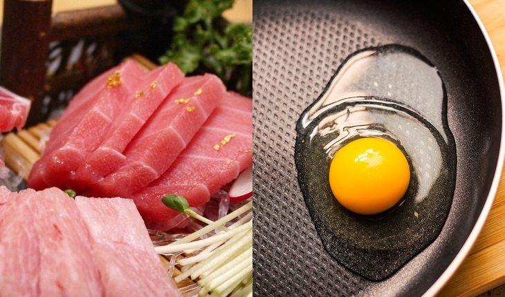Alimentação na gravidez. Alimentos para grávidas evitarem: na foto, atum cru e ovo cru