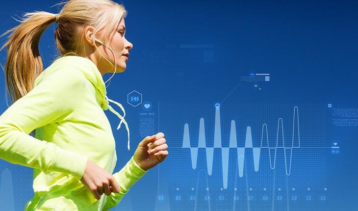 Esporte, mulher, loira, correndo, atividade física